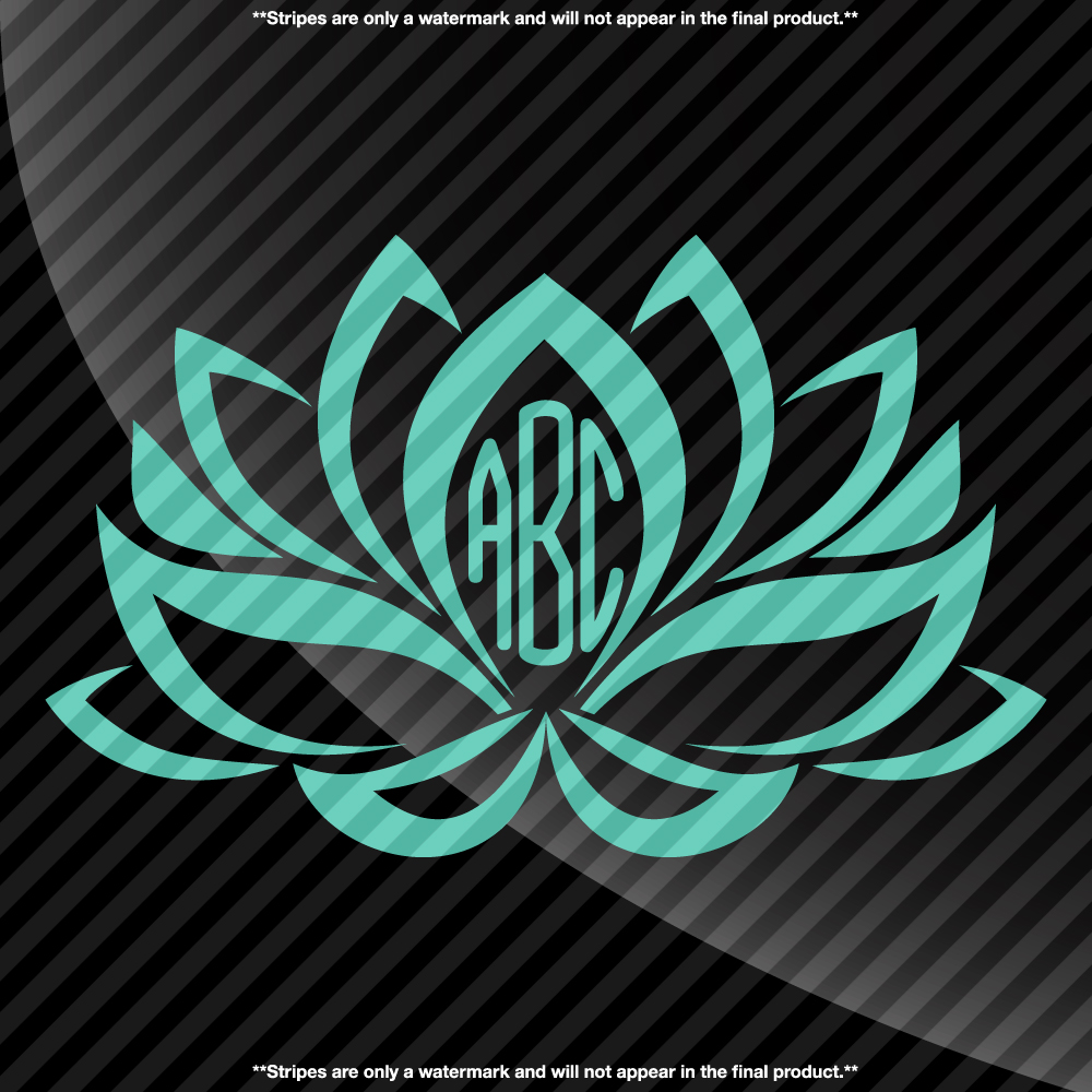 Lotus Flower Monogram Decal Sticker TONS OF OPTIONS